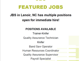 Updated - Featured Job - JBS in Lenoir is Hiring for Multiple Positions