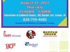 Outdoor Job Fair August 12 - Hosted by NCWorks Career Center Caldwell