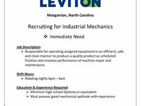 Leviton Recruiting for Industrial Mechanics
