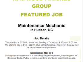 RPM Wood Finishers is looking for a Maintenance Mechanic