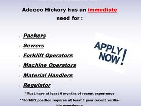 Stony Point & Taylorsville Job Postings - Adecco