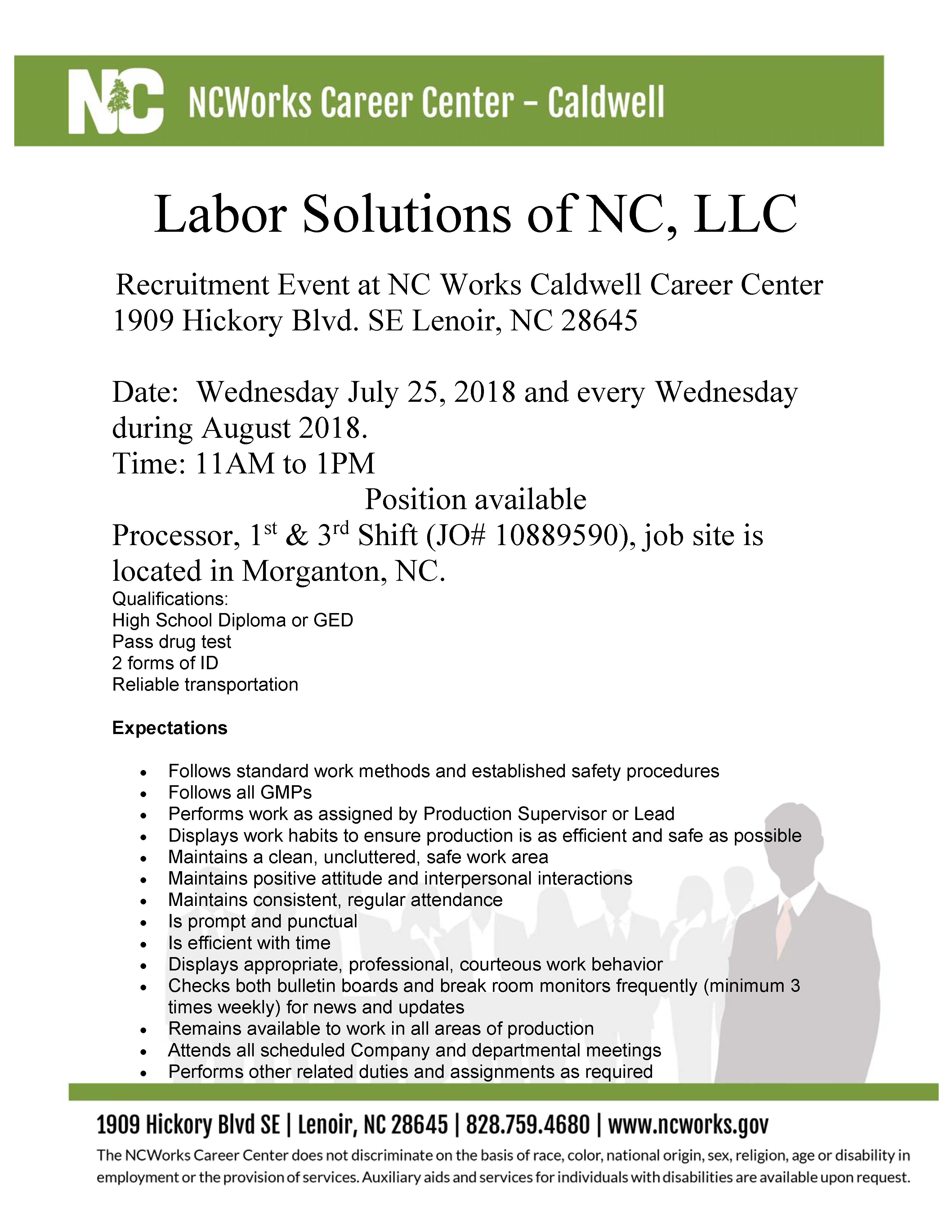 Llc In Nc >> Labor Solutions Of Nc Llc Recruitment Event At Nc Works Caldwell