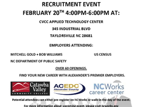 CVCC Hosting After Hours Recruitment Event on Feb 20