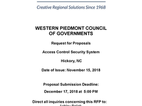 WPCOG - Requests for Proposals - Access Control Security System