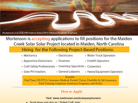 Mortenson is Accepting Applications for Positions in Maiden, NC