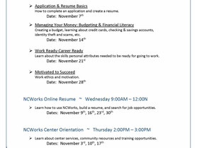 Employment Readiness Workshops - Scheduled in November at the NCWorks Career Center-Burke.