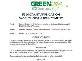 5310 Grant Application Workshop Announcement