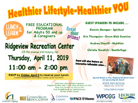 AAA - Healthier Lifestyle-Healthier You! Ridgeview Recreation Center on April 11, 11AM to 2PM.
