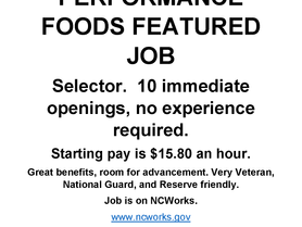 Performance Foods is Now Hiring - Selectors (10 openings, no experience required)