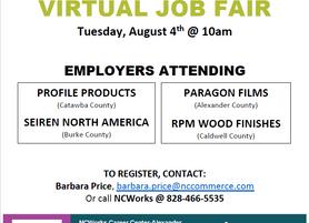 Virtual Job Fair - August 4, 10AM