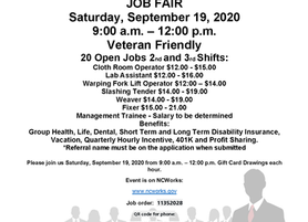 Schneider Mills, Inc Job Fair | Saturday, Sept. 19, 2020 | 9a to 12p