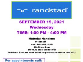Job Recruitment Event - Randstad - September 15