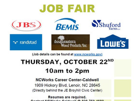 Drive Thru Job Fair Featuring Multiple Employers at NCWorks Career Center-Caldwell on October 22