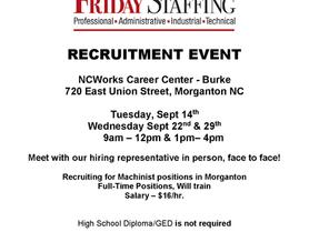 Friday Staffing Recruitment Event - September 22 & 29