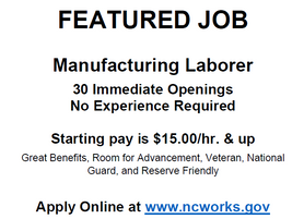 Featured Job - Westrock - Manufacturing Laborer - 30 Immediate Openings