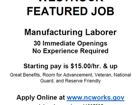 Featured Job - Westrock - Manufacturing Laborer - 30 Immediate Openings