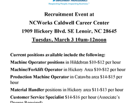 Express Employment Professionals - Recruitment Event at NCWorks Career Center-Caldwell on March 3