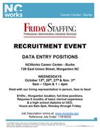 Friday Staffing Recruitment, October 20, 27 & November 3, 2021