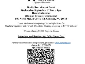 Hanes Industries Onsite Recruitment Event