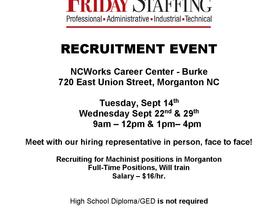 Friday Staffing Recruitment Event - NCWorks Career Center-Burke