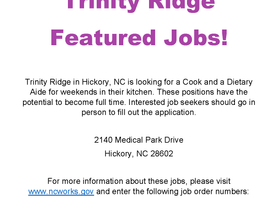 Featured Jobs - Trinity Ridge - Cook and Dietary Aide Needed for Weekends