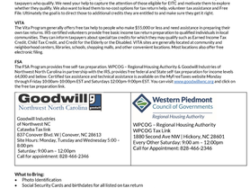 RHA EnVision Center through partnership with VITA and Goodwill, will be offering free tax preparatio