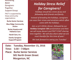 PACT Caregiver Support Group - Holiday Stress Relief for Caregivers!
