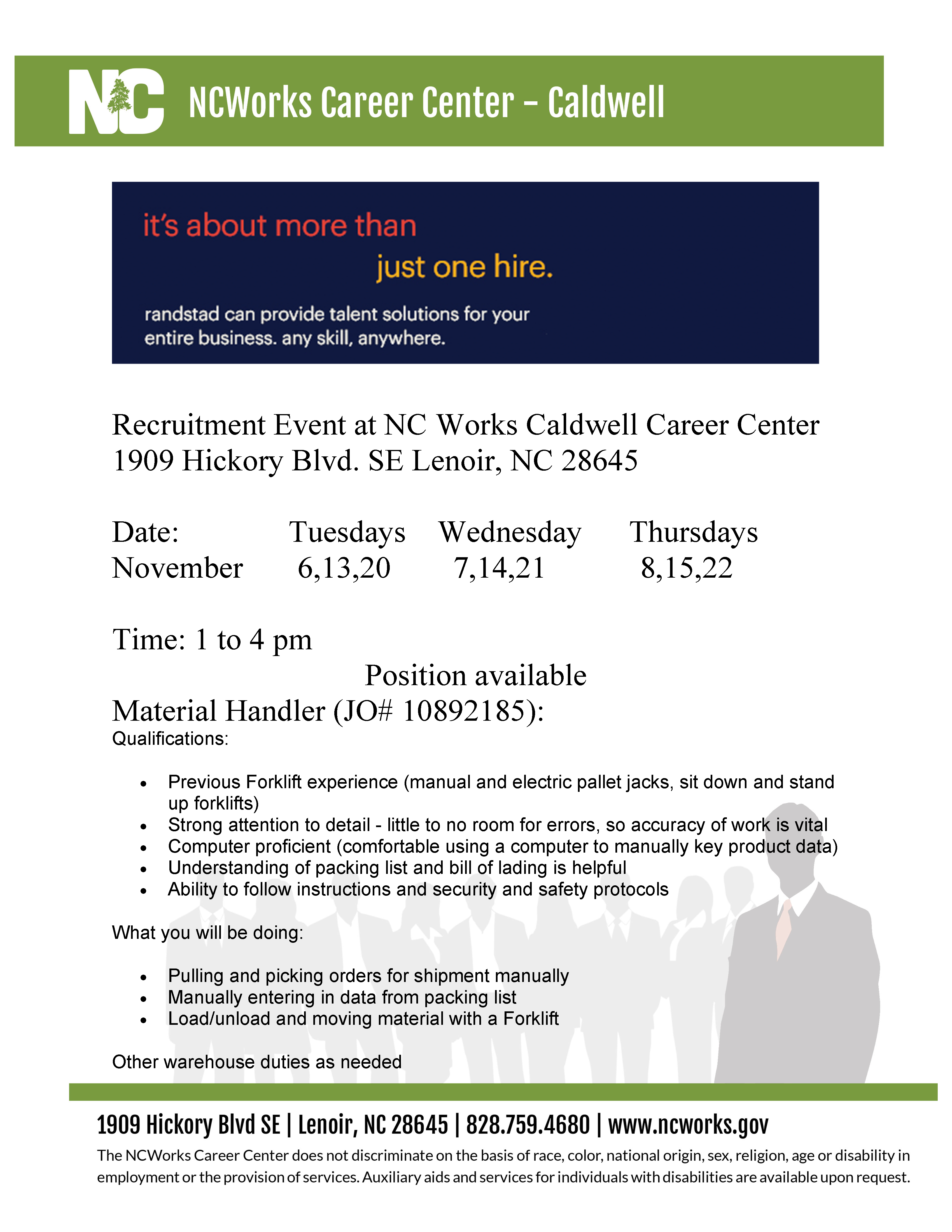Multiple Recruitment Events for Randstad at the NCWorks Career  Center-Caldwell | wpcog