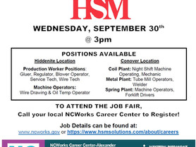 HSM - Virtual Job Fair on Sept. 30, 3pm