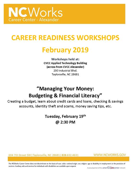 NCWorks Career Center-Alexander | February Workshop Schedule