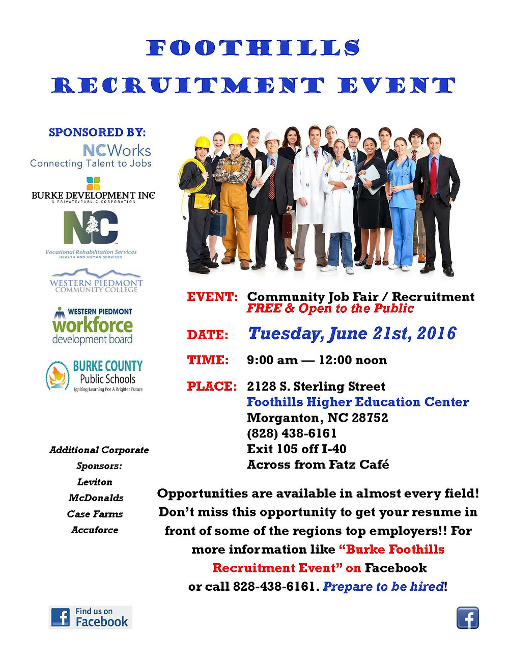 Foothills Recruitment Event Flyer
