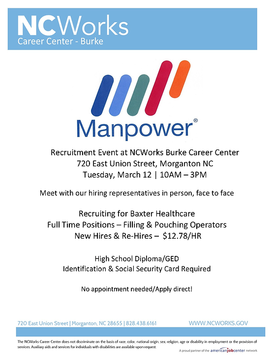 Manpower Recruitment Event at NCWorks Career Center-Burke for