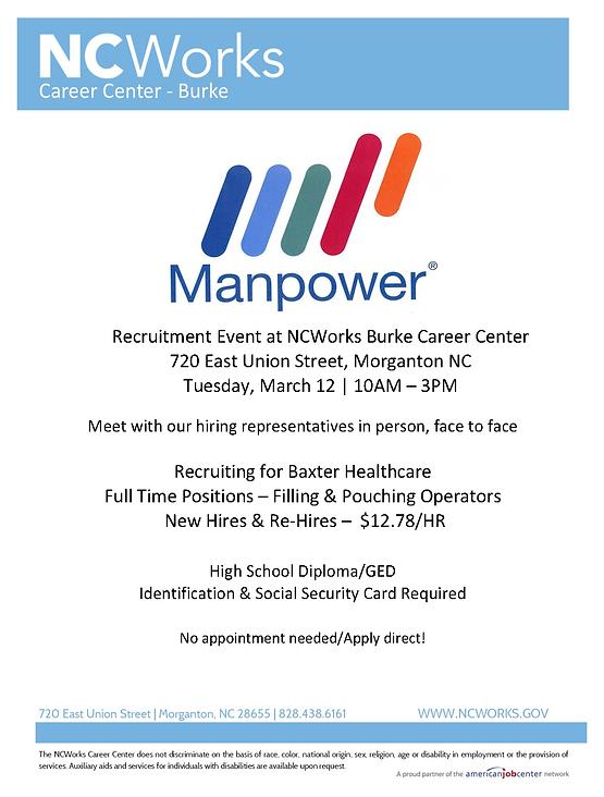 Manpower Recruitment Event at NCWorks Career Center-Burke