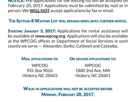 NOTICE: Accepting Pre-Applications for Section 8 Waiting List
