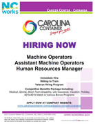 Carolina Container is Now Hiring!