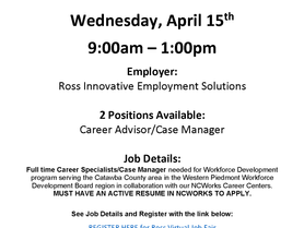 Ross Innovative Employment Solutions - Virtual Job Fair - Wednesday, April 15 (9am to 1pm)