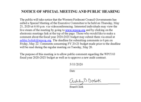 Notice of Special Meeting and Public Hearing - WPCOG Budget FY2020-2021