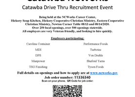 NCWorks Career Center-Catawba Drive Thru Recruitment Event Featuring Multiple Employers