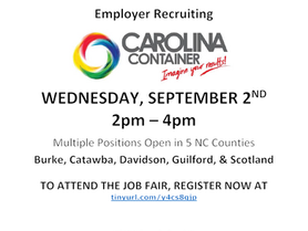 Carolina Container Regional Virtual Job Fair