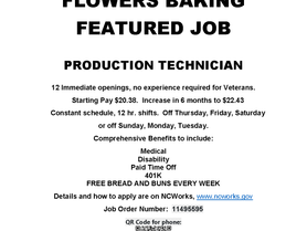 Flowers Baking Featured Job - Production Tech