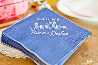 San Diego Skyline reception napkin