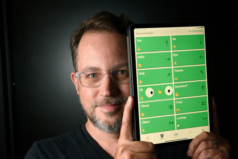 Cognixion CEO Andreas Forsland with the Speakprose Pro+ app Photo: Paul Wellman