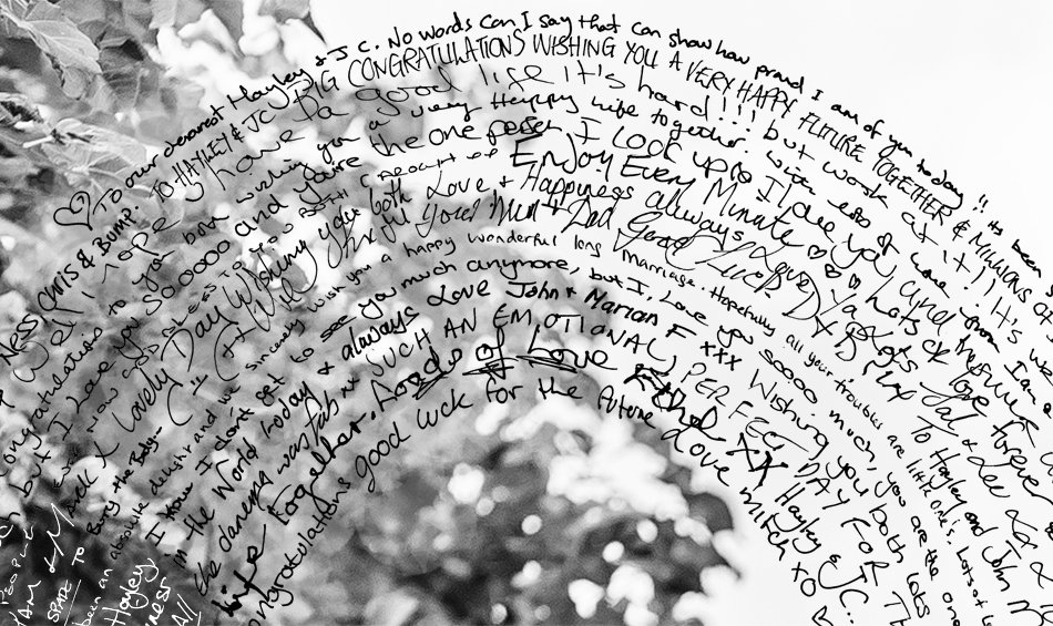 Close up detail of messages from the guest tags in a spiral heart canvas