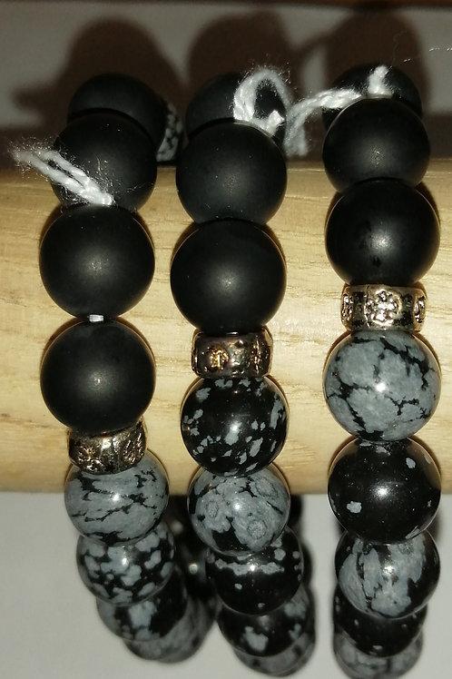 Obsidienne mouchetée, onyx dépoli