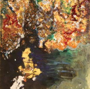Gesang des Dodo, 2013, oil, gold, copper on wooden panel, 40x32cm