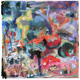 My secret garden, 2011, oil, carbonized fabric on canvas, 35x35cm