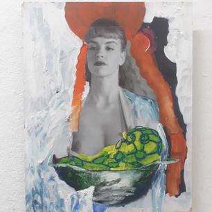 Nina kocht, Mixed Media on wooden panel