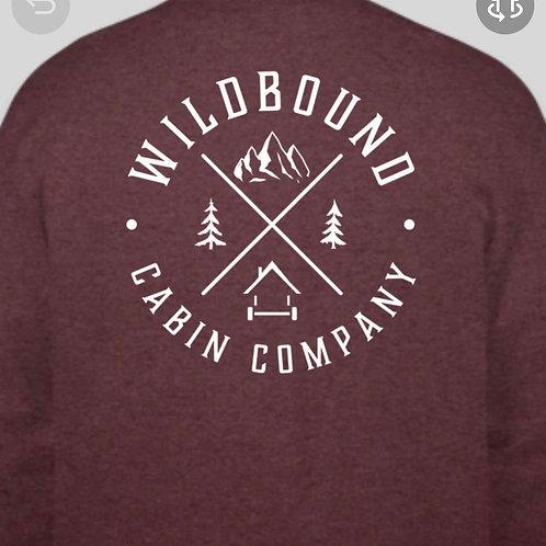 Wildbound Cabin Company Logo Crew Neck - Maroon Heather