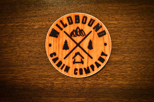"""Wood Branded Wildbound Cabin Company Logo 3"""" Round Sticker"""