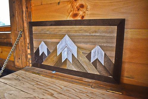 Handmade Wood Mountain Peaks Wall Art with Snow Capped Peaks